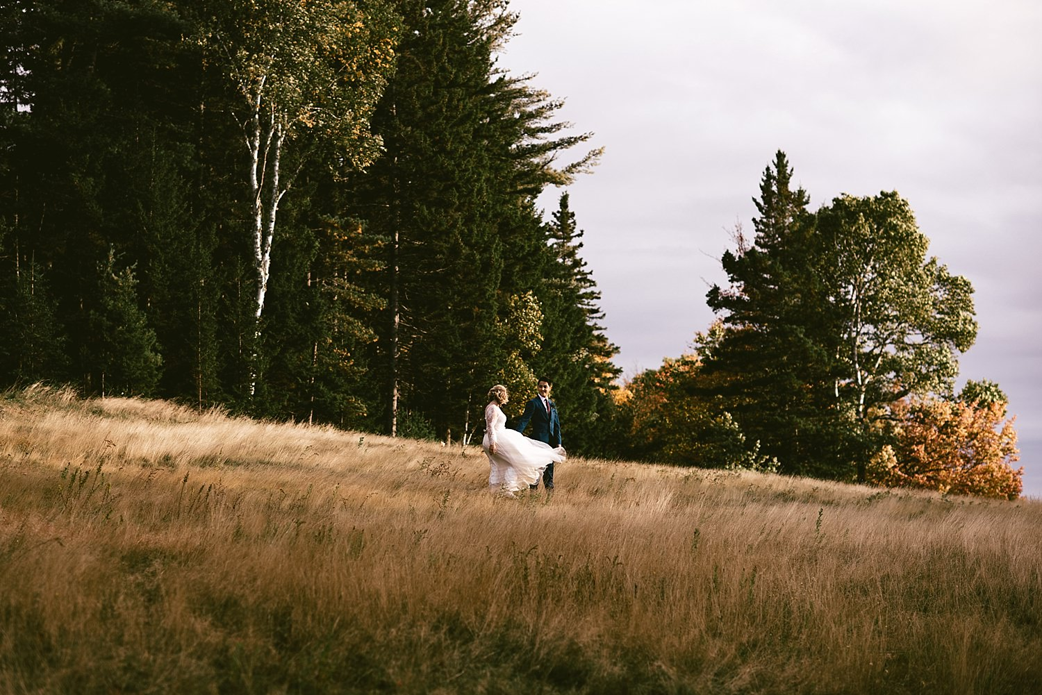 bride and groom in Acadia