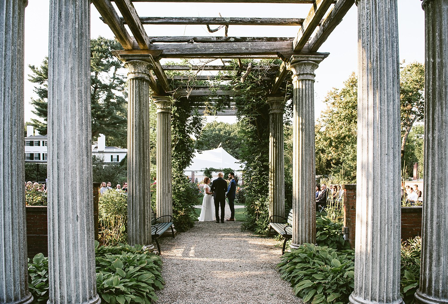 Wedding Ceremony under colonnade