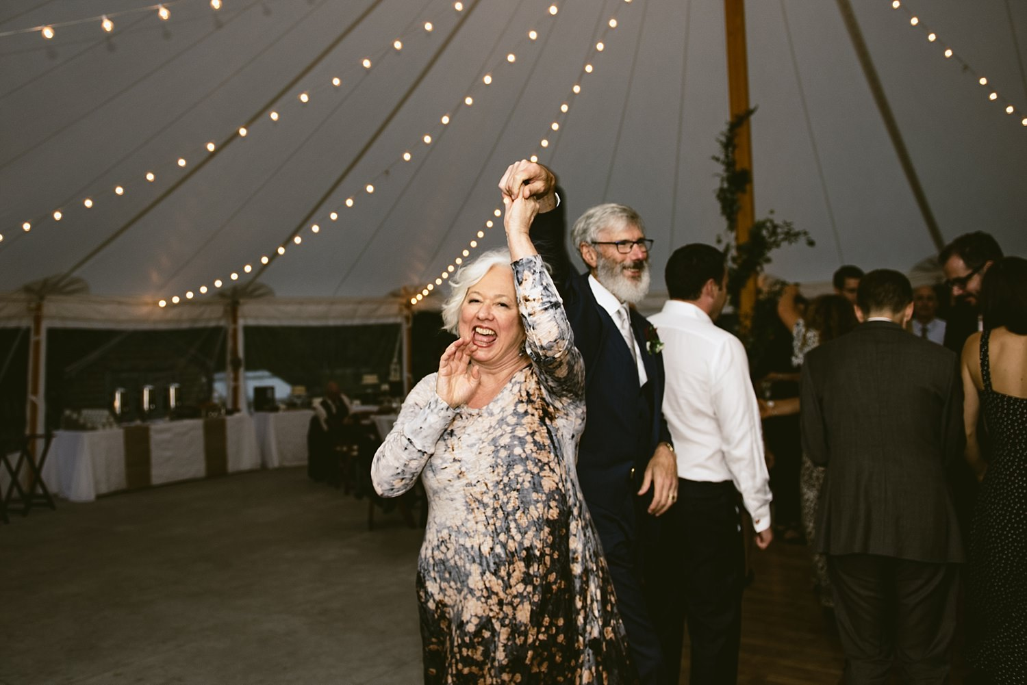 Mother and father of the bride dancing