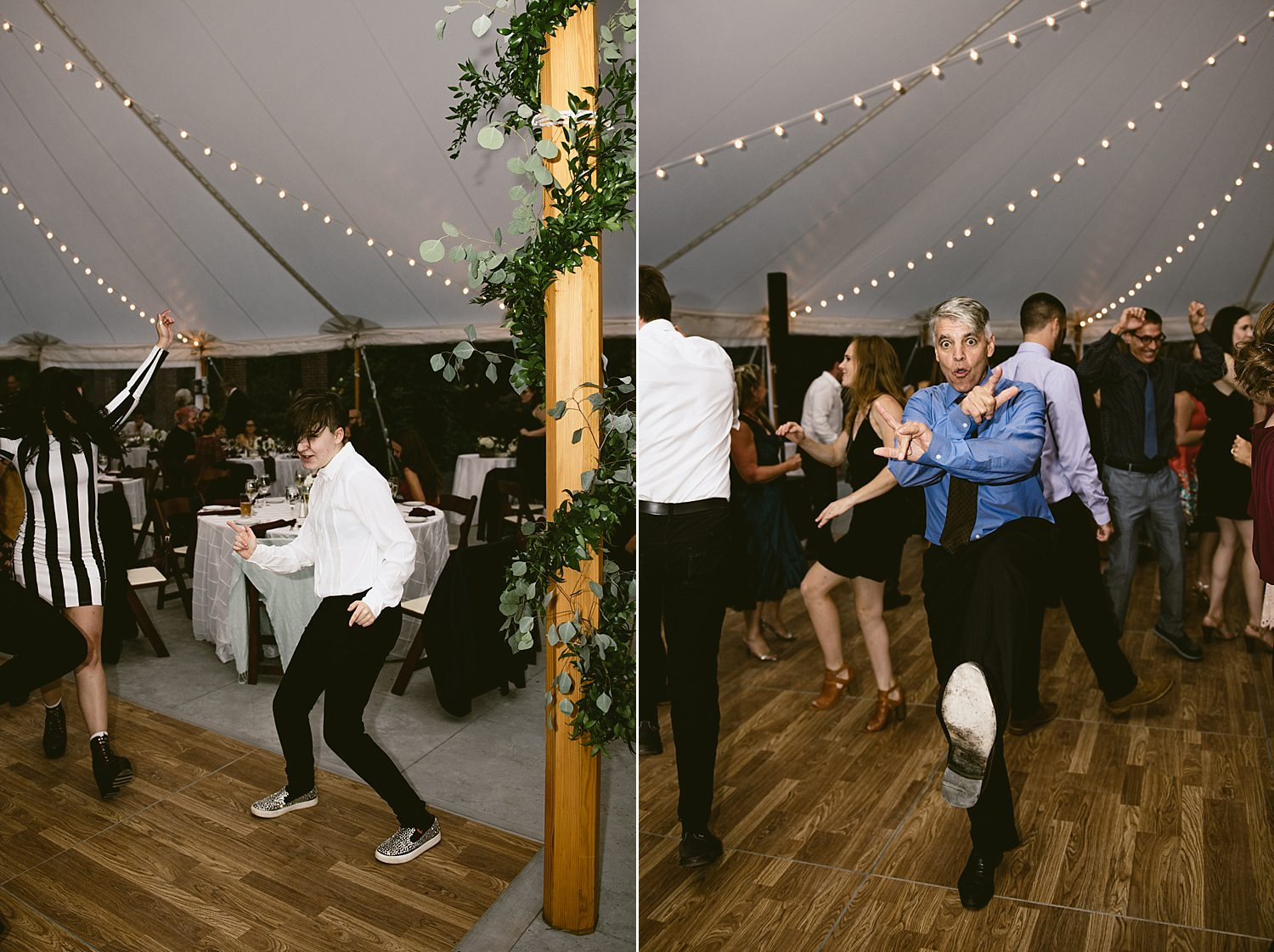 Wedding guests dancing wild