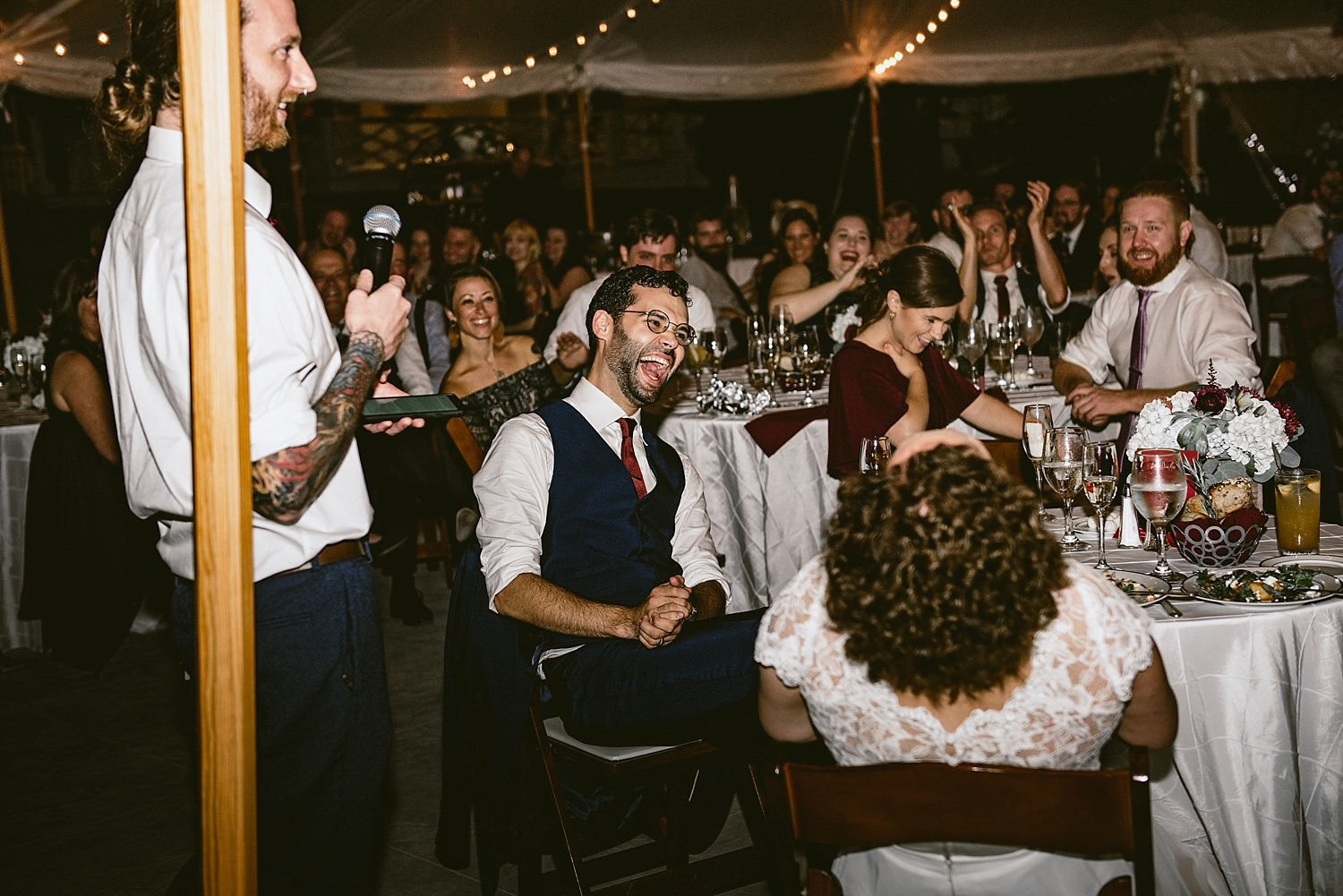 Wedding speeches and laughter