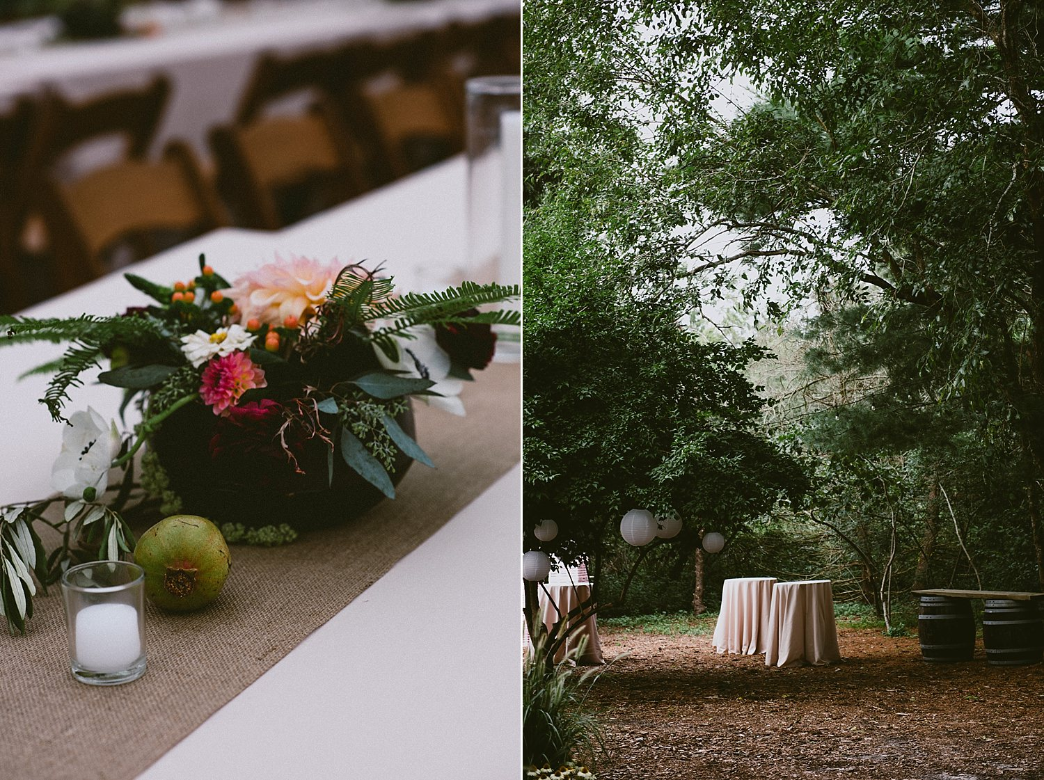 wedding decor, florals, fruit and natural wood