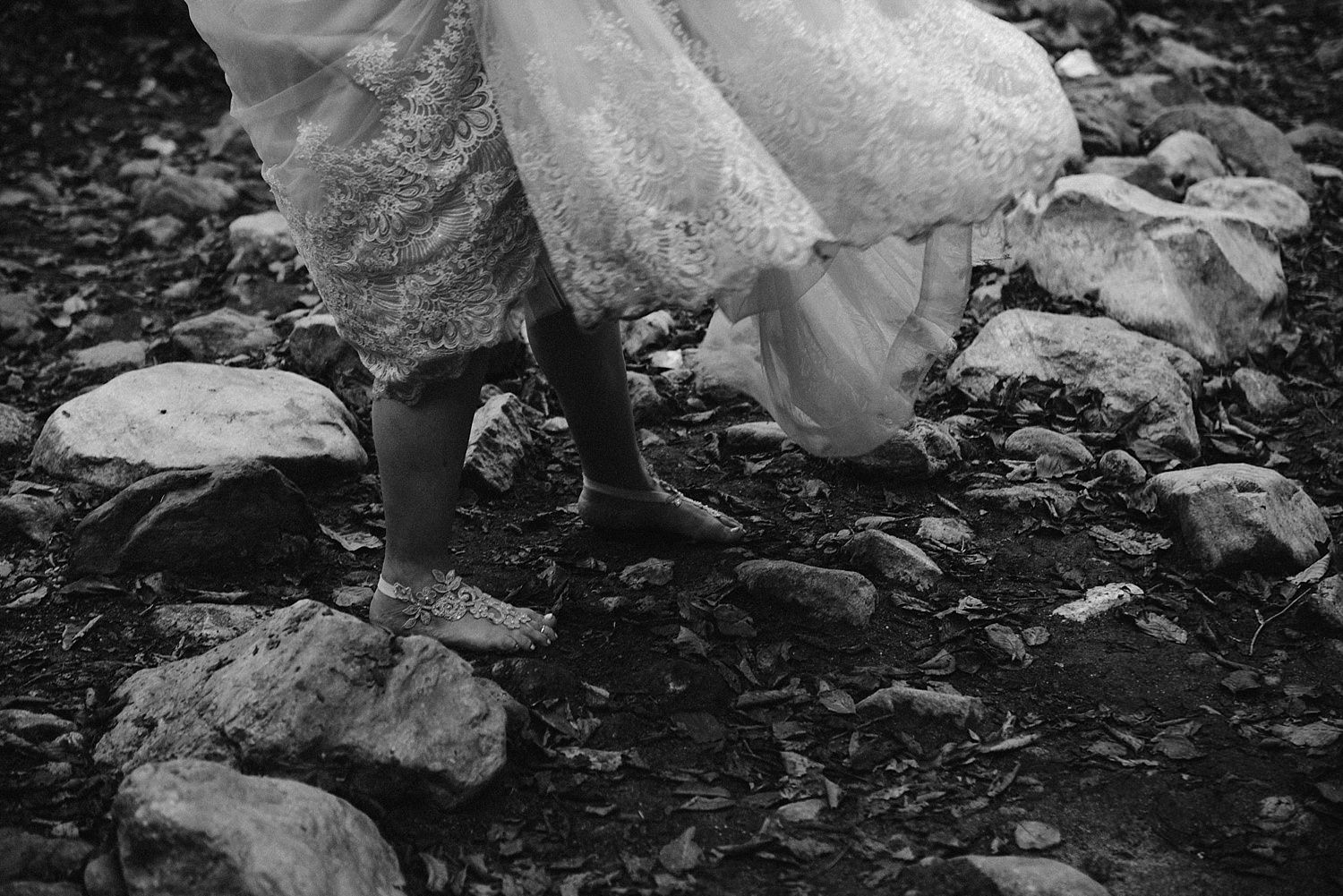 bride barefoot in the river