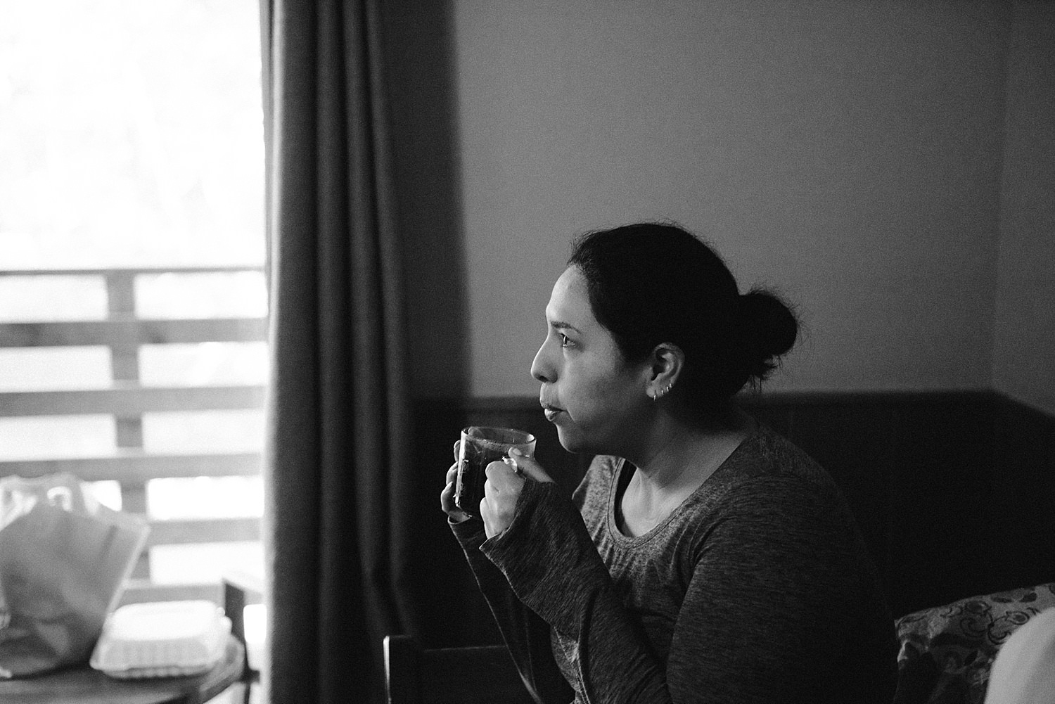 Sister of the bride drinking coffee