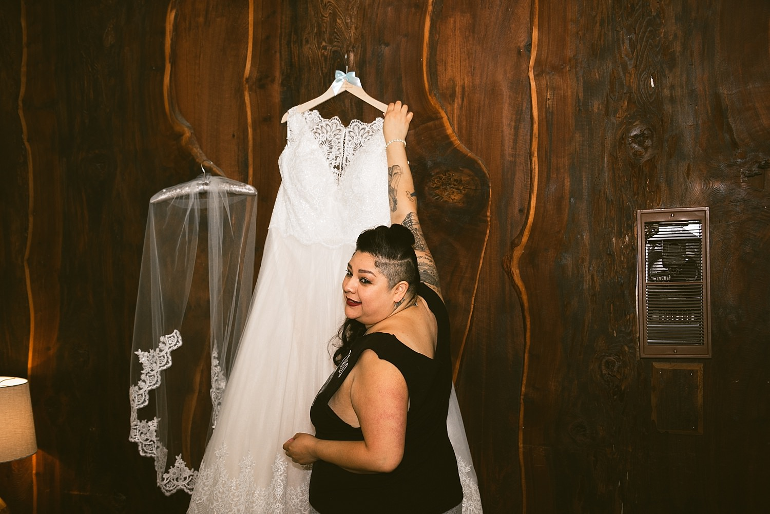 Bride getting her dress on
