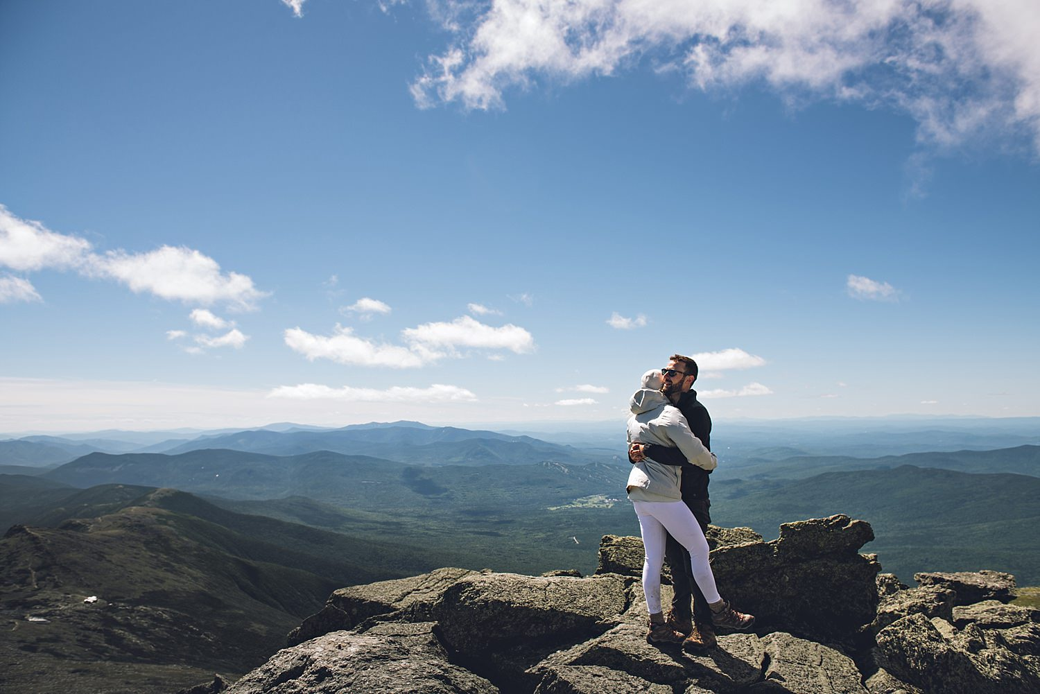 bride and groom portrait on the mountain