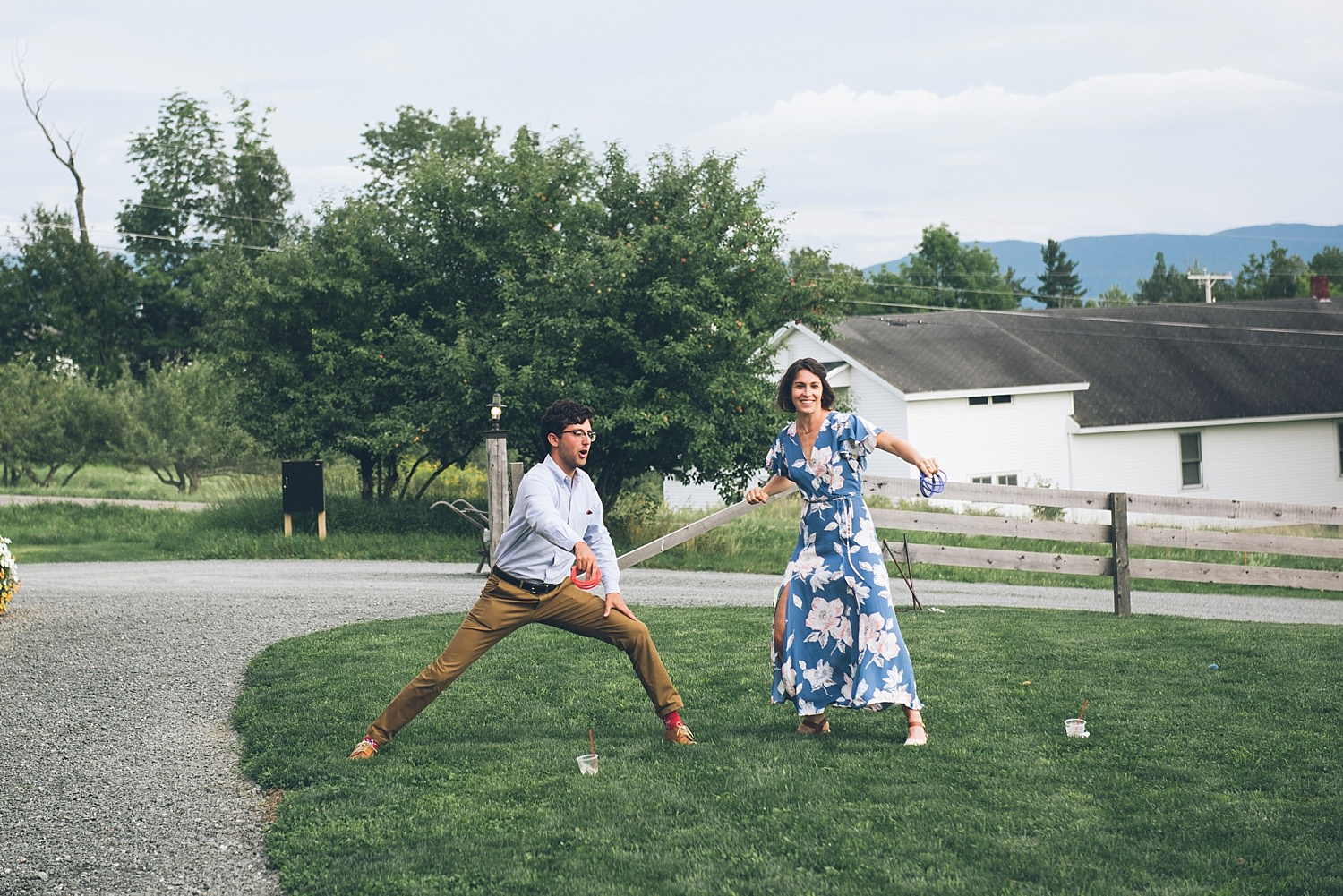 wedding guests playing yard games