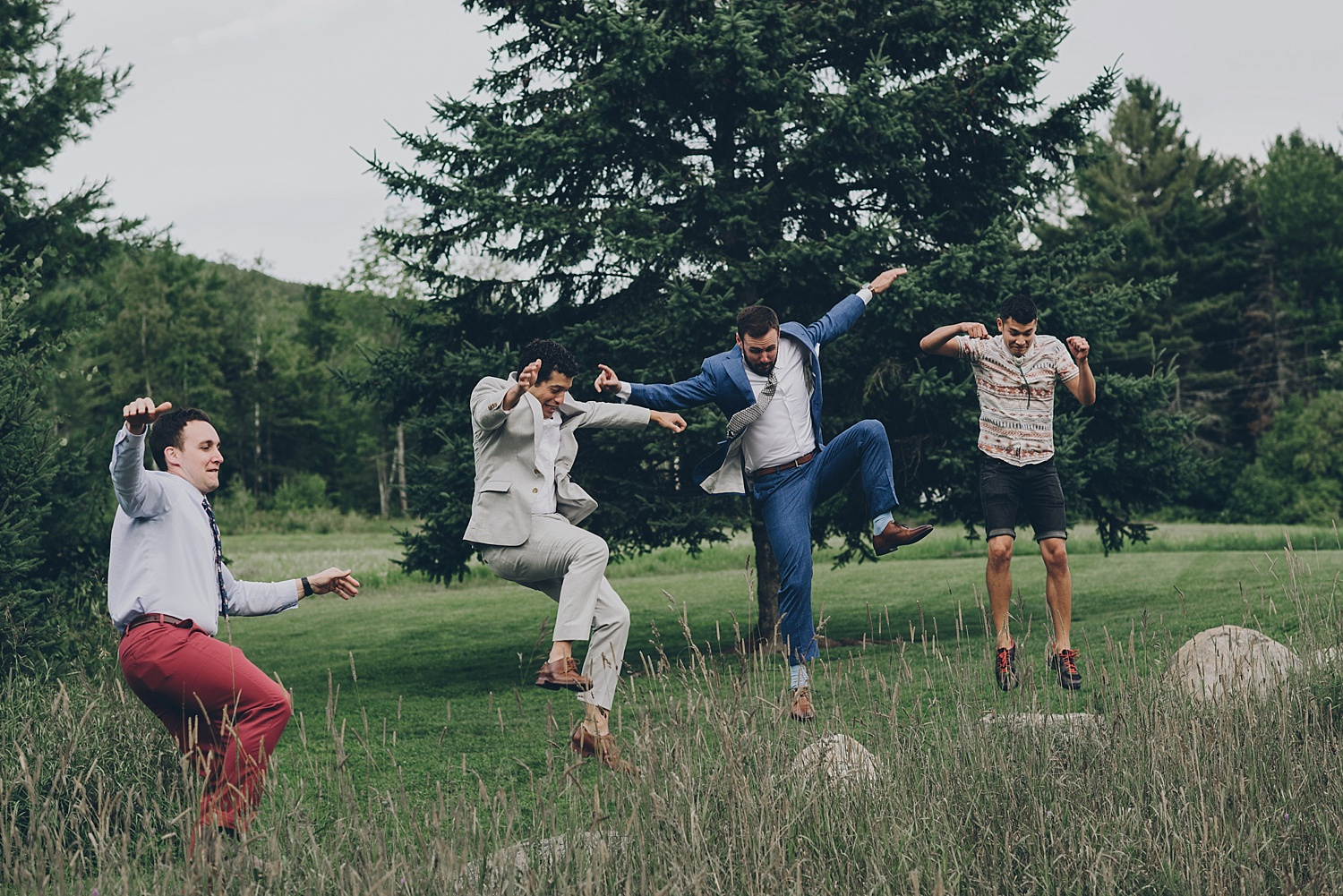groom and friends doing karate kid