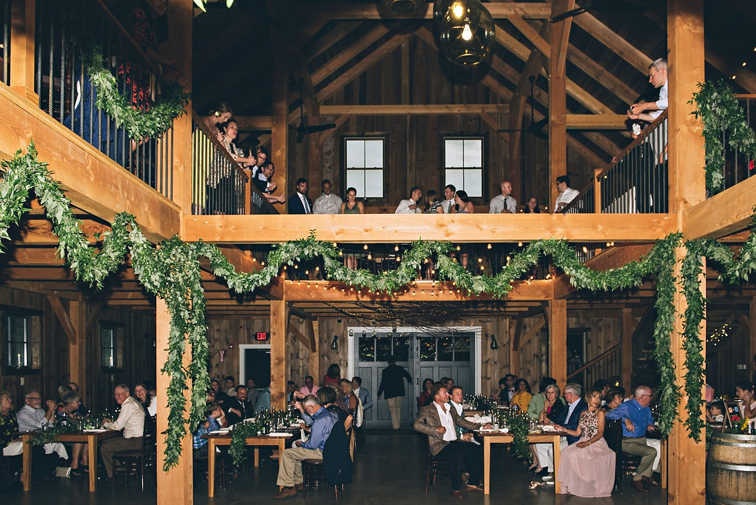 wedding guests at bellevue barn