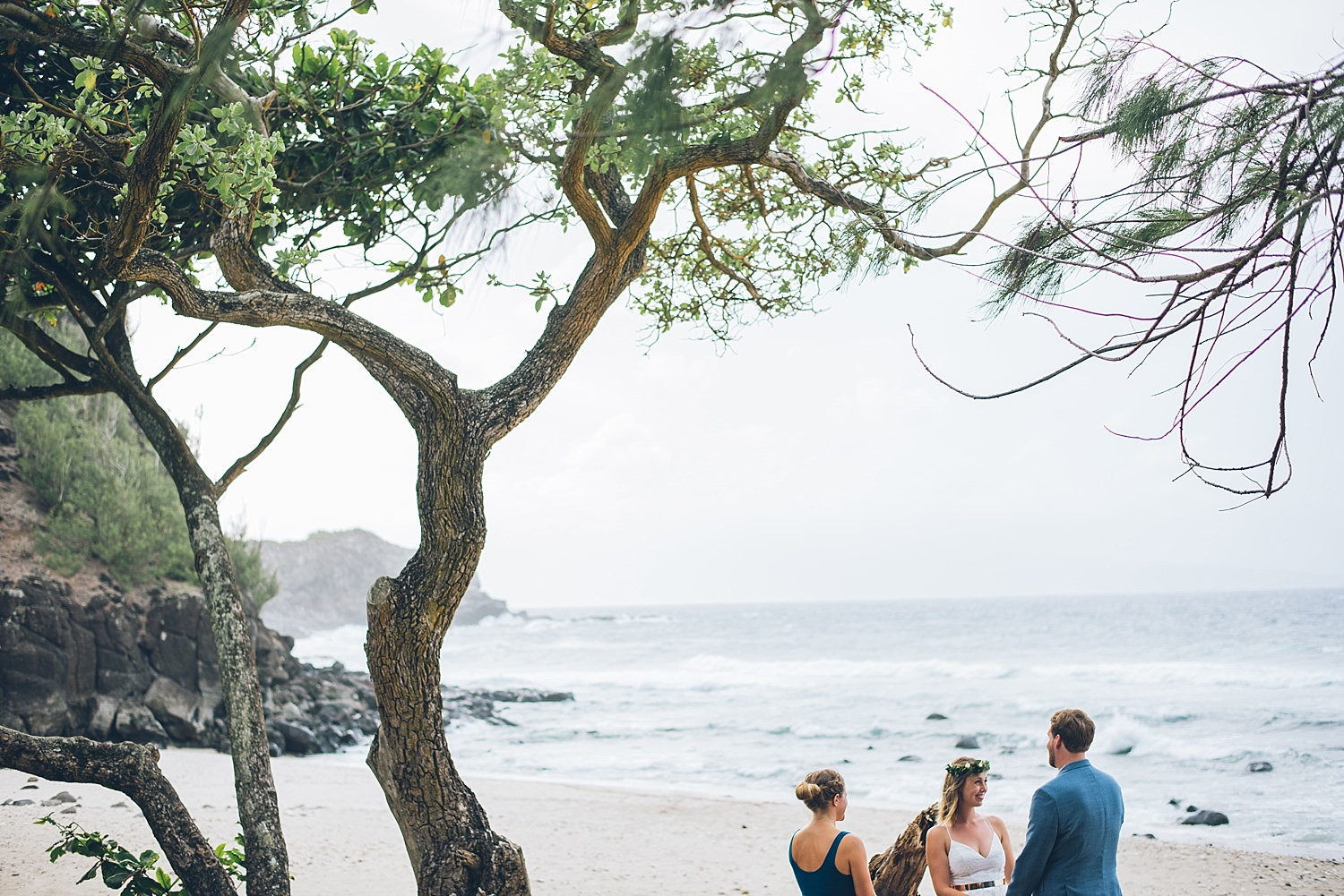 elopement ceremony under a tree