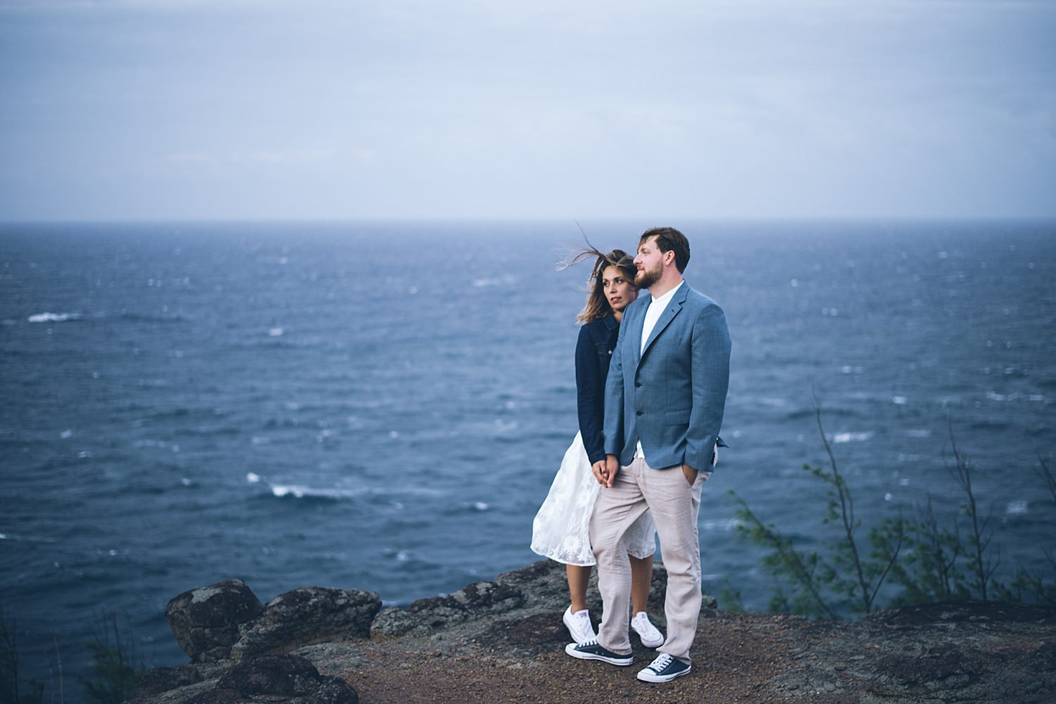 bride and groom portrait on the cliffs