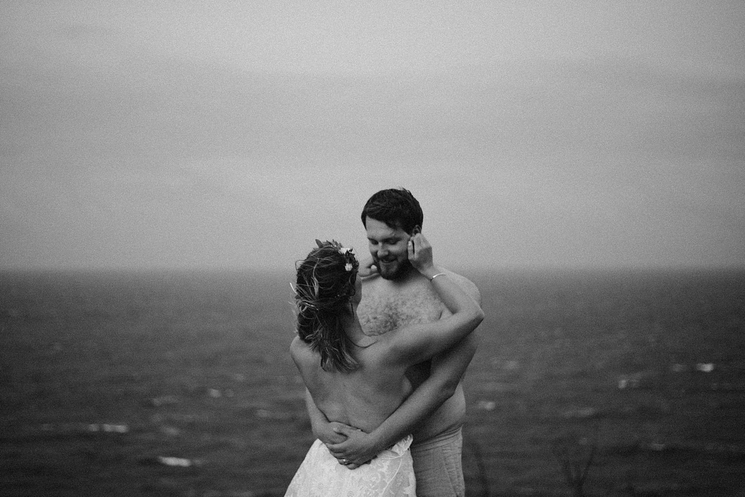 bride and groom in an intimate embrace