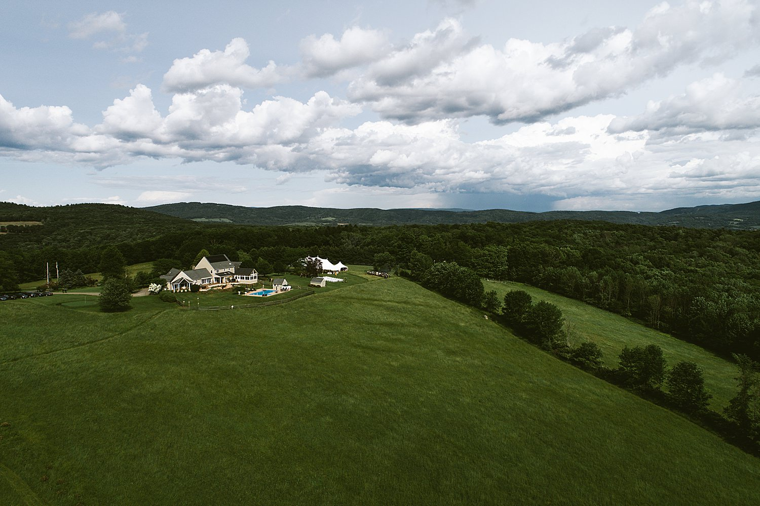aerial image of wedding venue