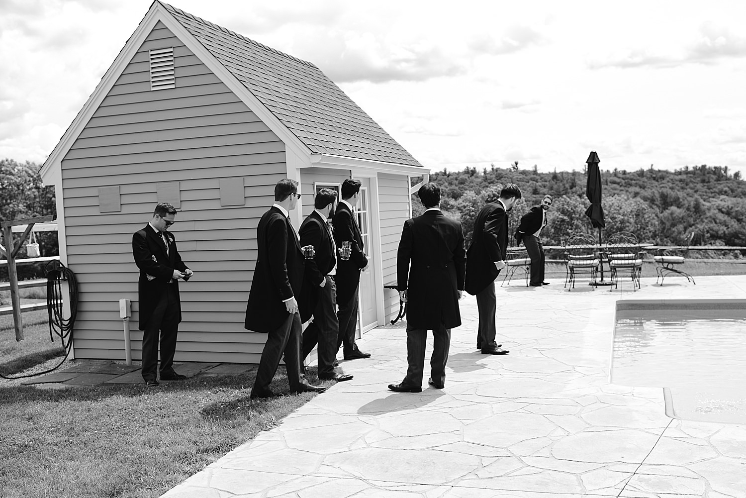 Groomsmen goofing around