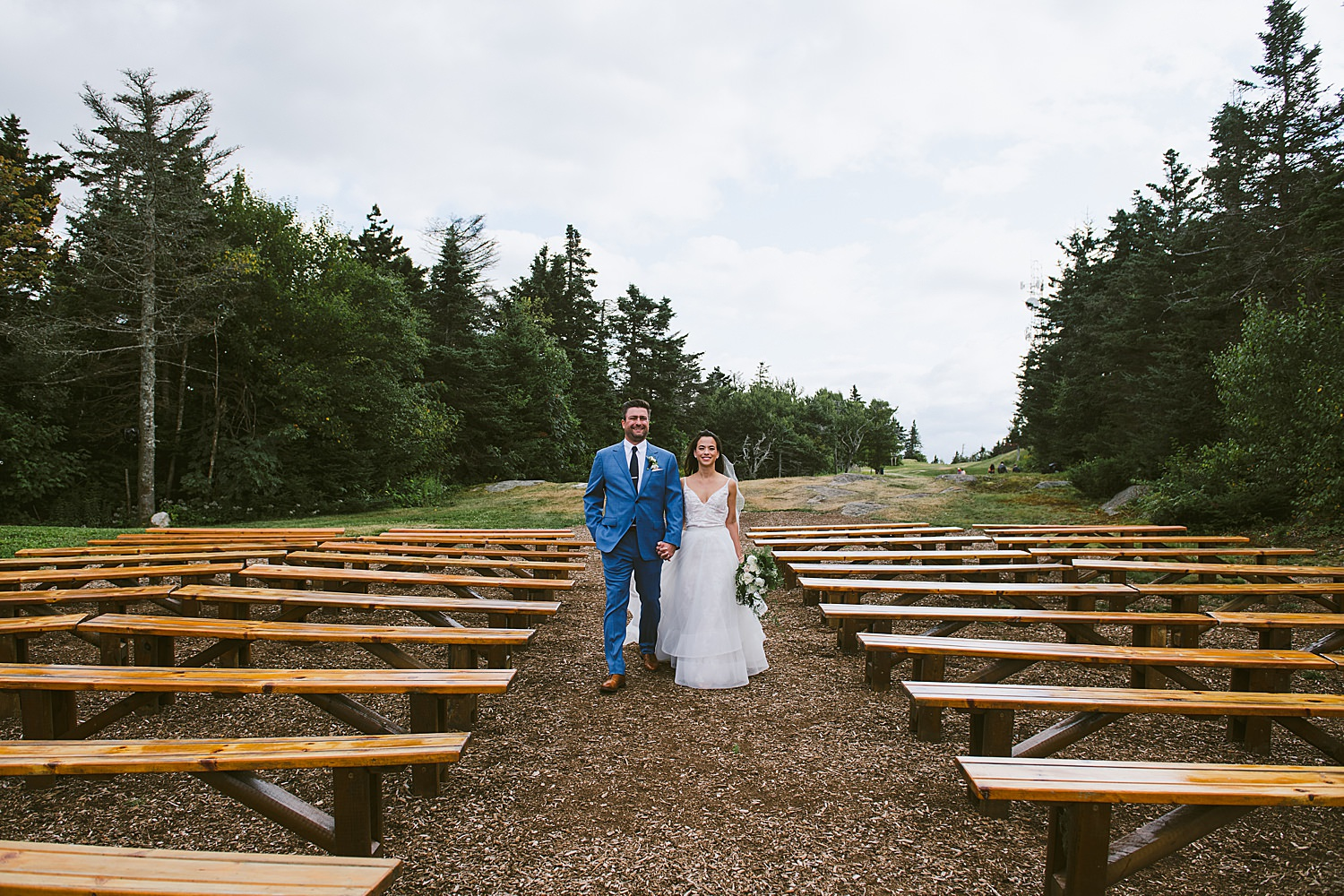 Ashley and Michael standing in the middle of their ceremony site