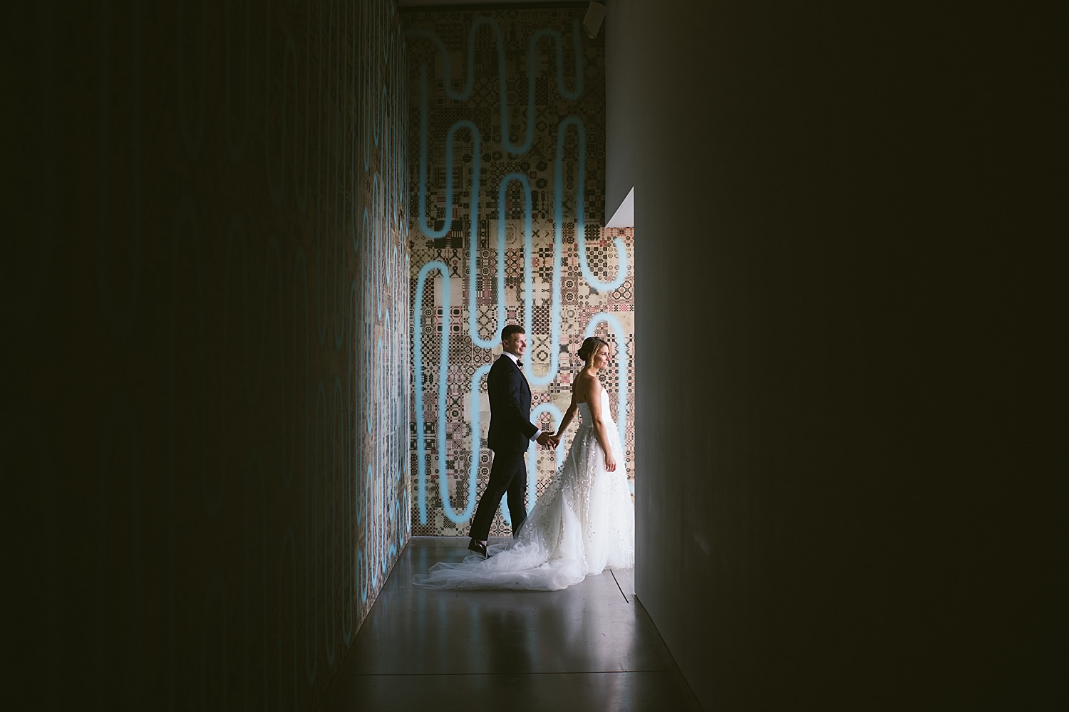 Bride and Groom Portraits at the ICA
