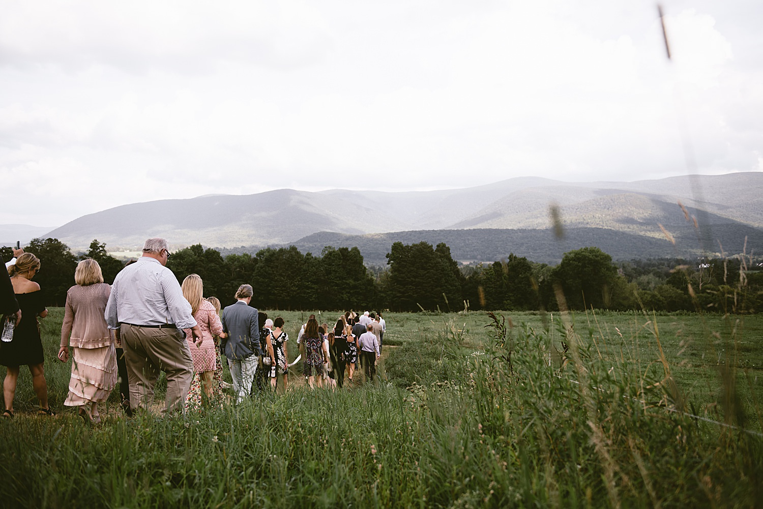 Wedding Guests walking through the fields at venue