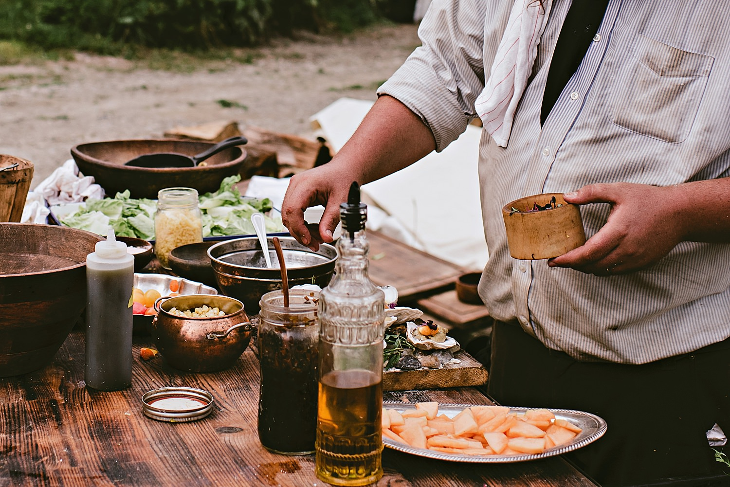 Wedding food by heirloom fire