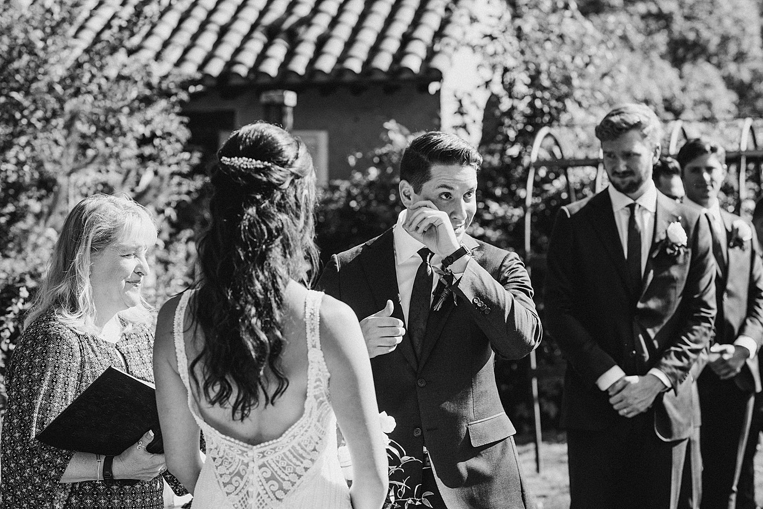 groom crying during the ceremony