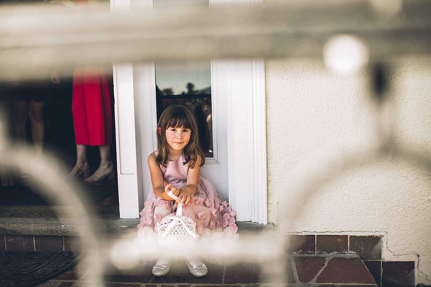 flower girl sitting at party