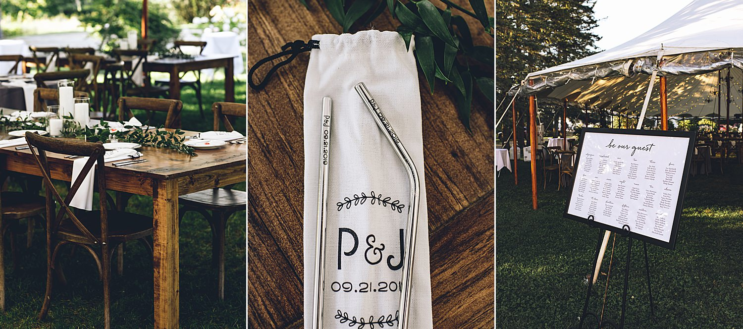 details of the wedding tent, table settings etc