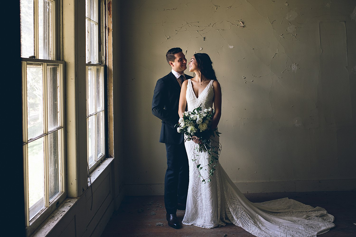 bride and groom indoor portrait