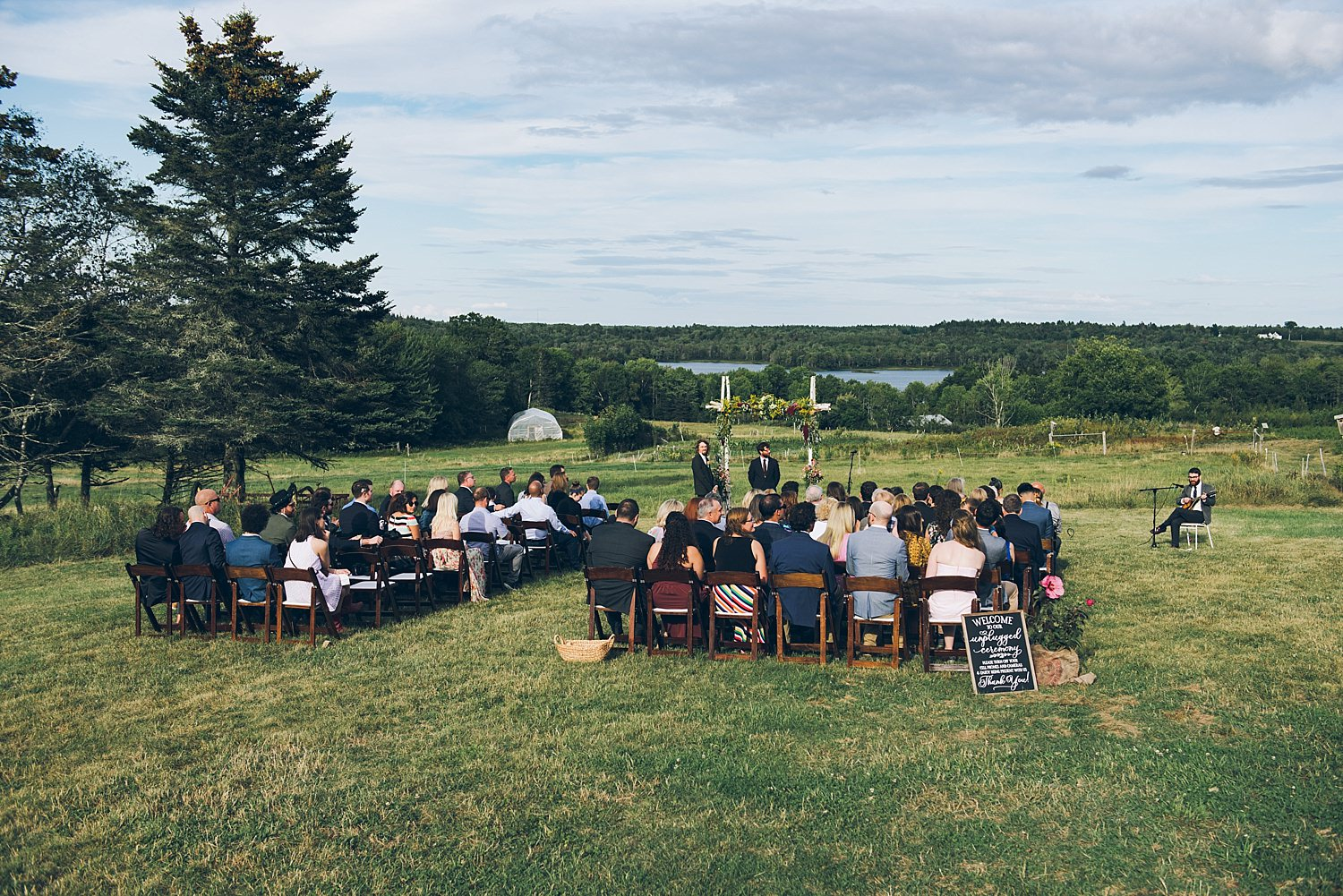 Wedding ceremony overlooking the lake