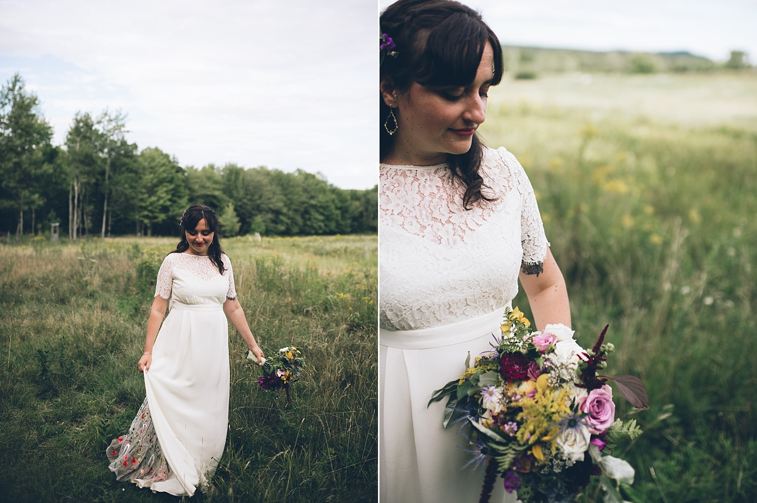 bride in a meadow