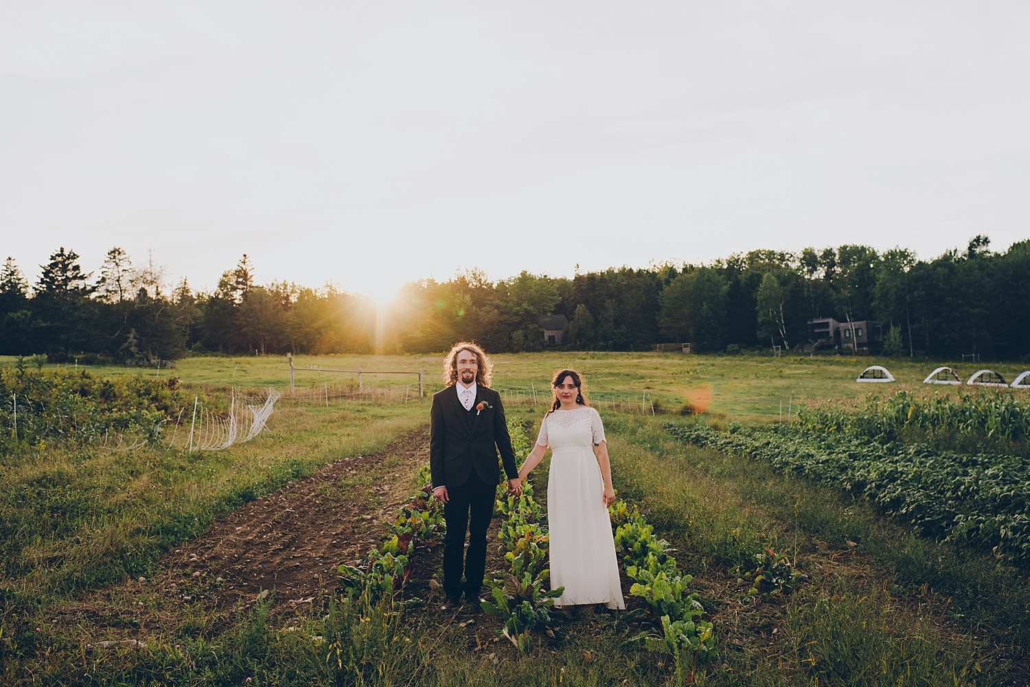 Bride and Groom Portrait in Organic garden
